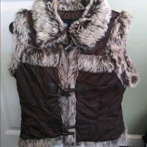 Body Central Brown Flux Vest